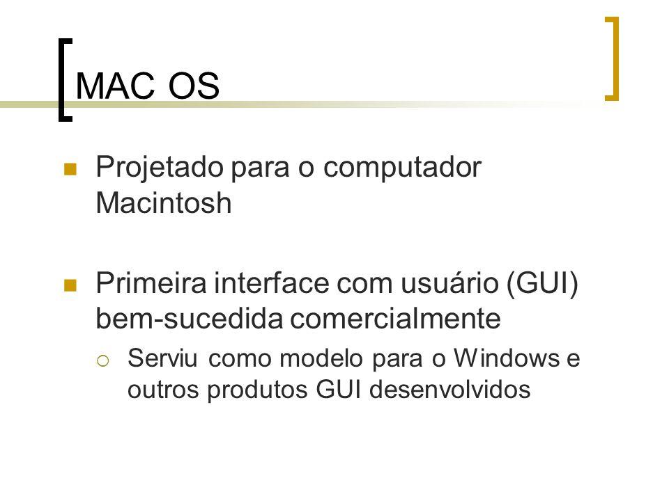 MAC OS Projetado para o computador Macintosh Primeira interface com usuário (GUI) bem-sucedida comercialmente Serviu como modelo para o Windows e outr