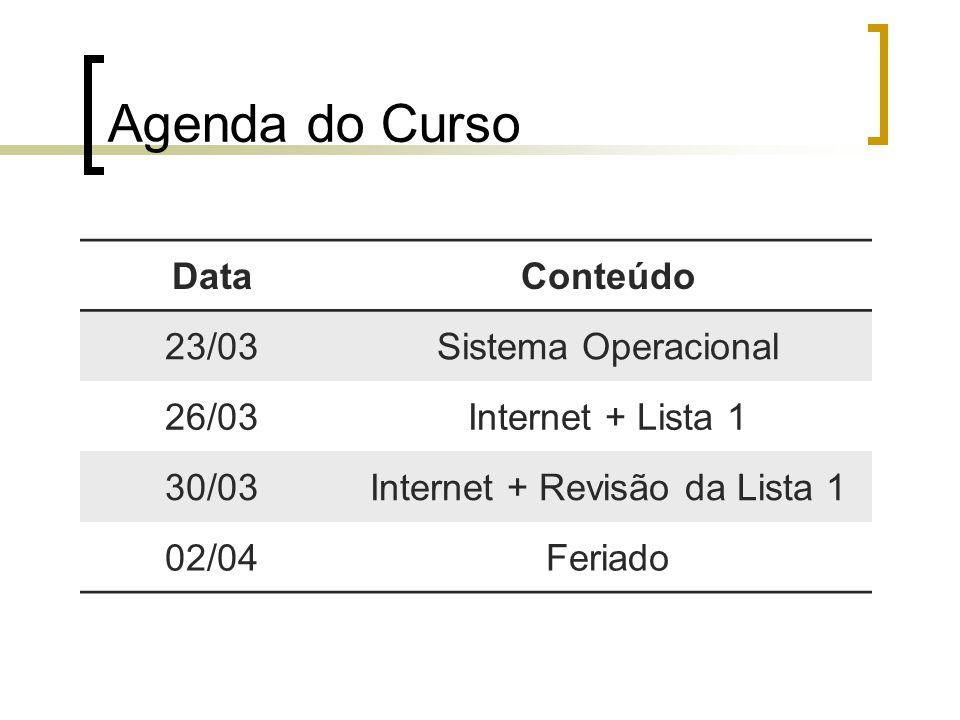 Agenda do Curso DataConteúdo 23/03Sistema Operacional 26/03Internet + Lista 1 30/03Internet + Revisão da Lista 1 02/04Feriado