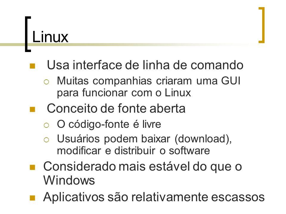 Linux Usa interface de linha de comando Muitas companhias criaram uma GUI para funcionar com o Linux Conceito de fonte aberta O código-fonte é livre U