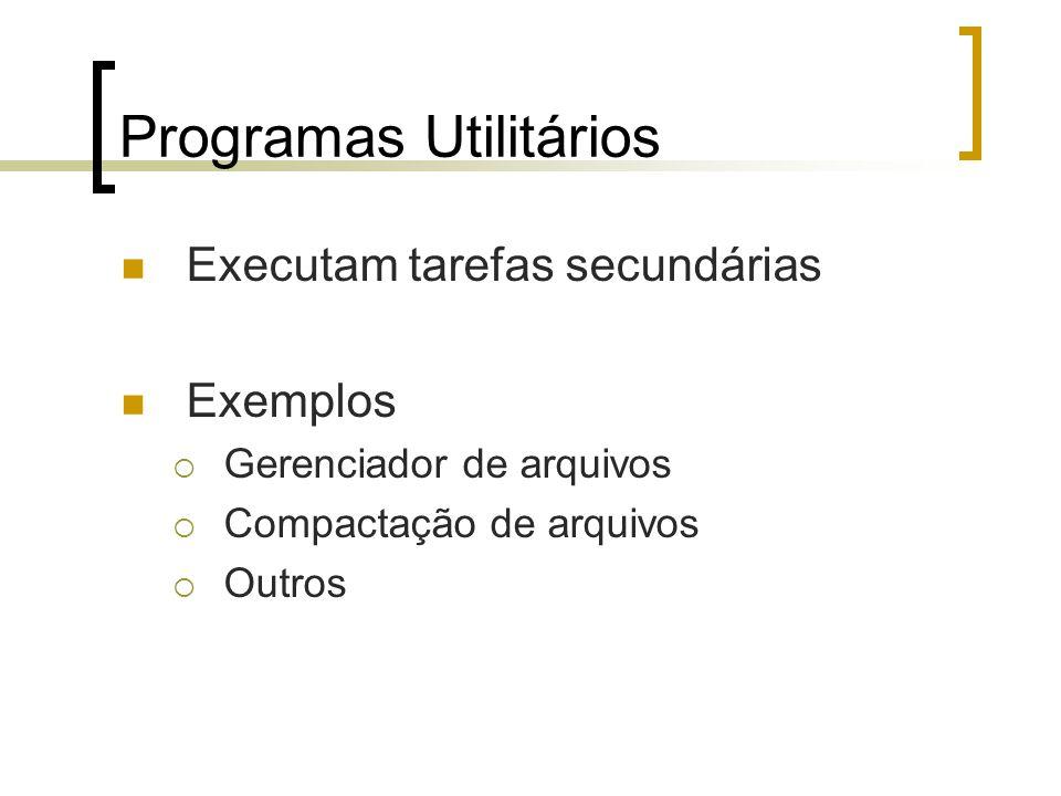 Programas Utilitários Executam tarefas secundárias Exemplos Gerenciador de arquivos Compactação de arquivos Outros