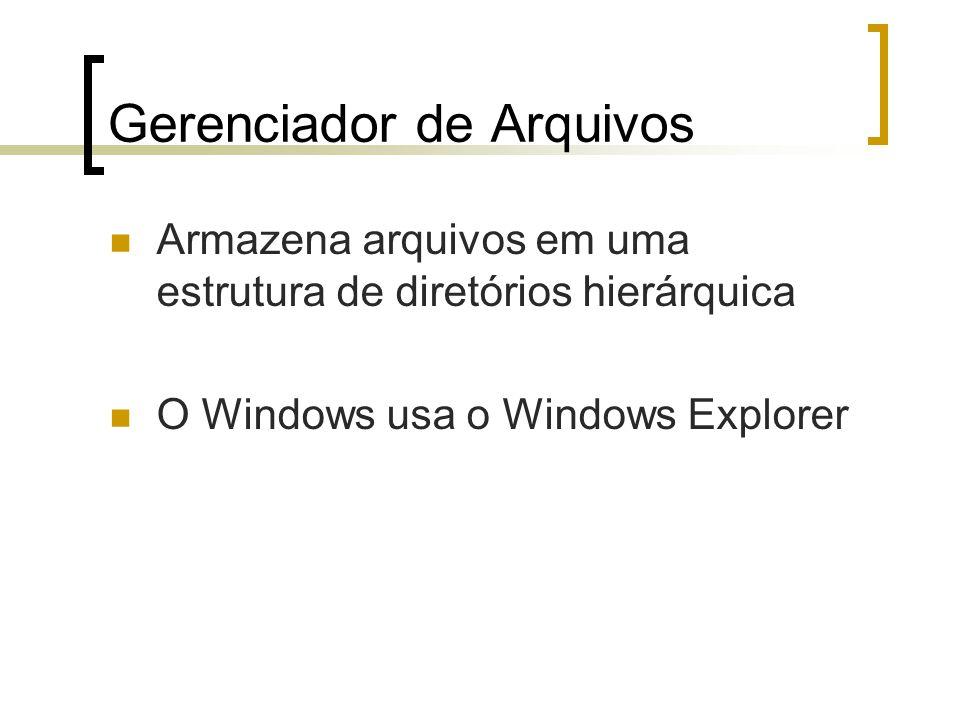 Gerenciador de Arquivos Armazena arquivos em uma estrutura de diretórios hierárquica O Windows usa o Windows Explorer