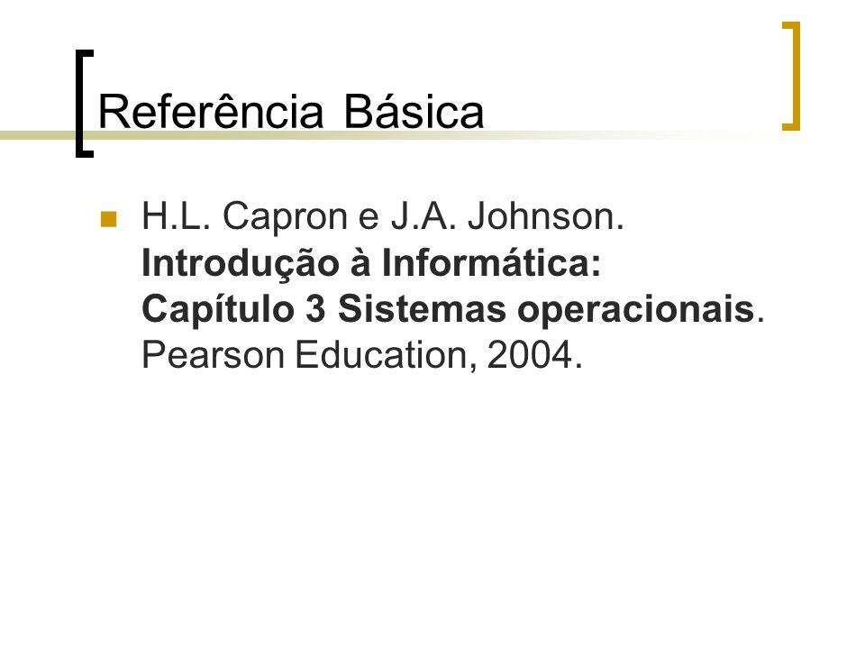Referência Básica H.L. Capron e J.A. Johnson. Introdução à Informática: Capítulo 3 Sistemas operacionais. Pearson Education, 2004.