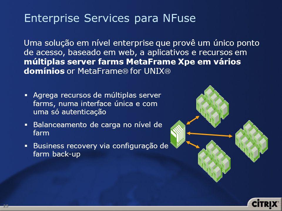 25 Enterprise Services para NFuse Uma solução em nível enterprise que provê um único ponto de acesso, baseado em web, a aplicativos e recursos em múlt