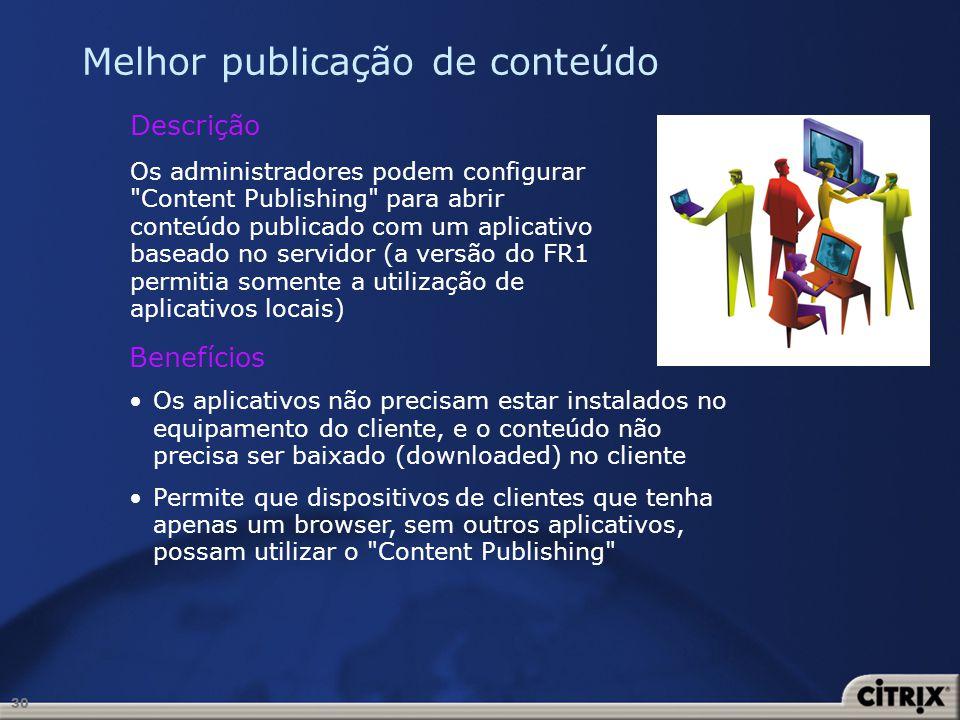 30 Melhor publicação de conteúdo Descrição Os administradores podem configurar