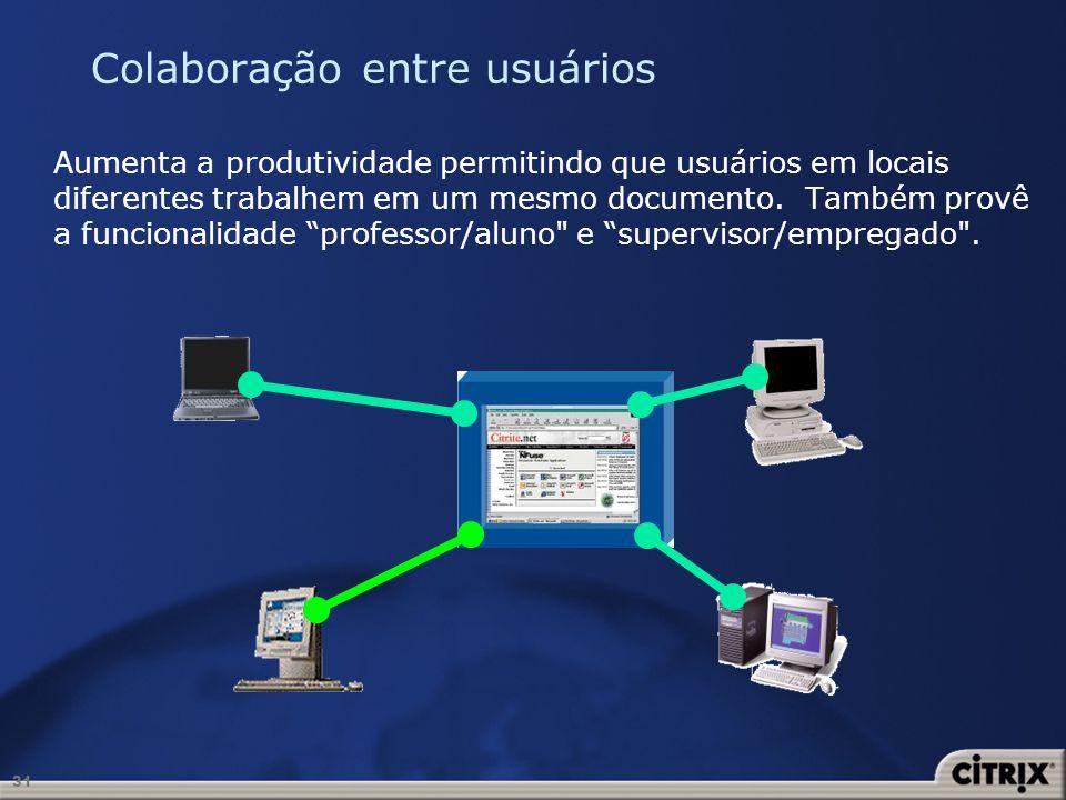 31 Colaboração entre usuários Aumenta a produtividade permitindo que usuários em locais diferentes trabalhem em um mesmo documento. Também provê a fun