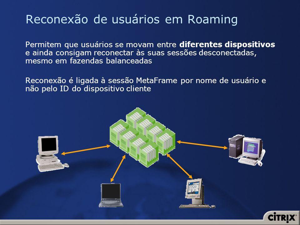 Reconexão de usuários em Roaming Permitem que usuários se movam entre diferentes dispositivos e ainda consigam reconectar às suas sessões desconectada