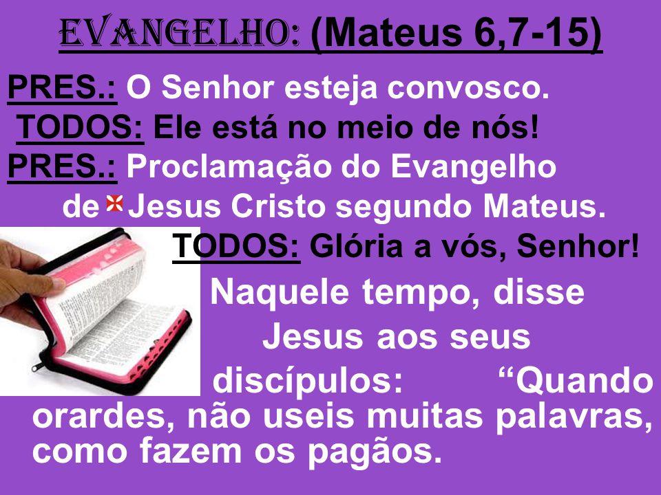 EVANGELHO: (Mateus 6,7-15) PRES.: O Senhor esteja convosco. TODOS: Ele está no meio de nós! PRES.: Proclamação do Evangelho de Jesus Cristo segundo Ma