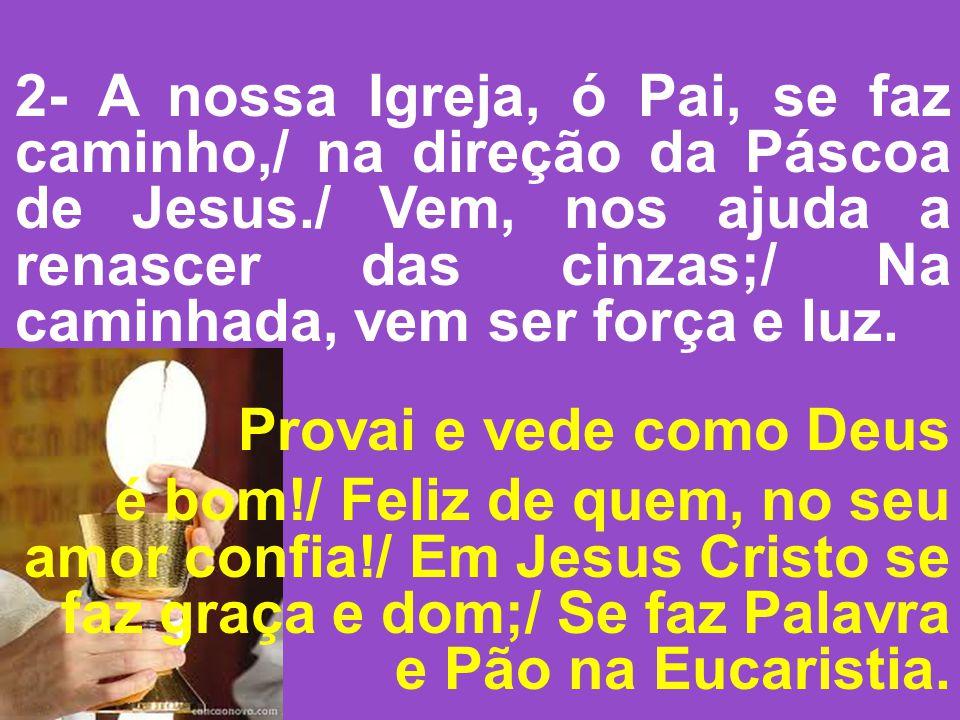 2- A nossa Igreja, ó Pai, se faz caminho,/ na direção da Páscoa de Jesus./ Vem, nos ajuda a renascer das cinzas;/ Na caminhada, vem ser força e luz. P