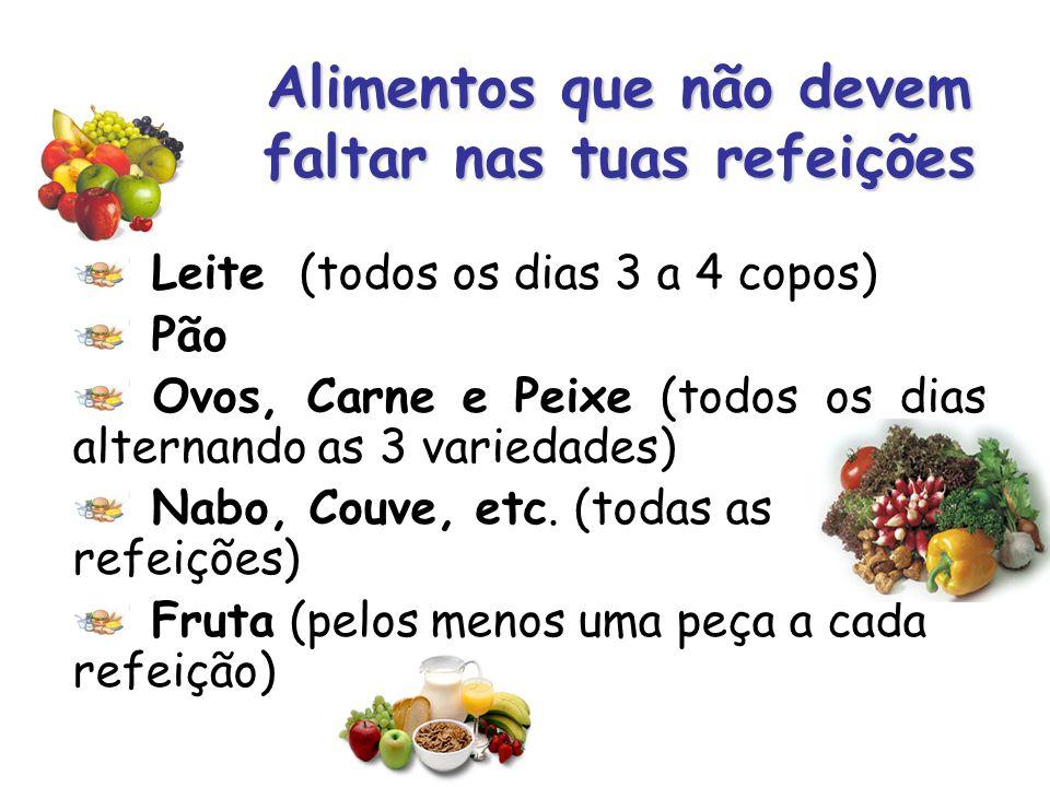 Alimentos que não devem faltar nas tuas refeições Leite (todos os dias 3 a 4 copos) Pão Ovos, Carne e Peixe (todos os dias alternando as 3 variedades)
