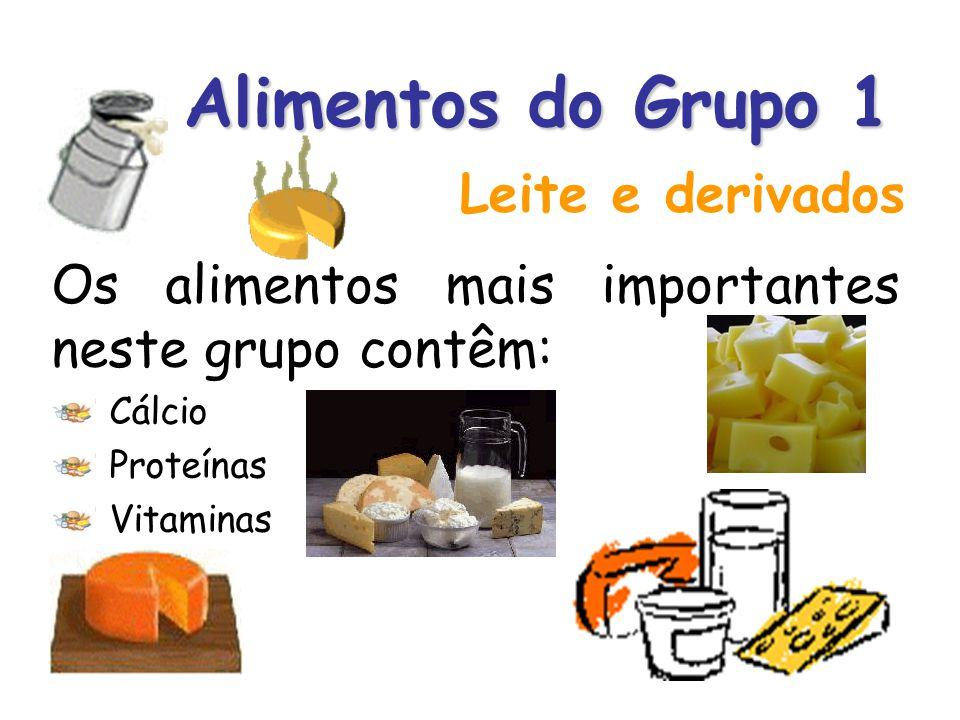Alimentos do Grupo 1 Os alimentos mais importantes neste grupo contêm: Cálcio Proteínas Vitaminas Leite e derivados