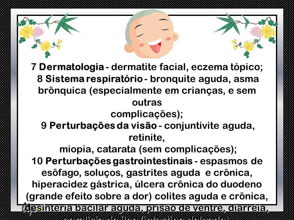 1 Otorrinolaringologia (ouvidos, nariz, garganta) – zumbido, faringite. zumbido, faringite. 2 Cárdio-respiratórias - dor no peito, palpitação, 2 Cárdi