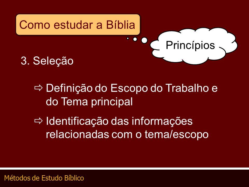 Métodos de Estudo Bíblico Como estudar a Bíblia 3. Seleção Definição do Escopo do Trabalho e do Tema principal Identificação das informações relaciona