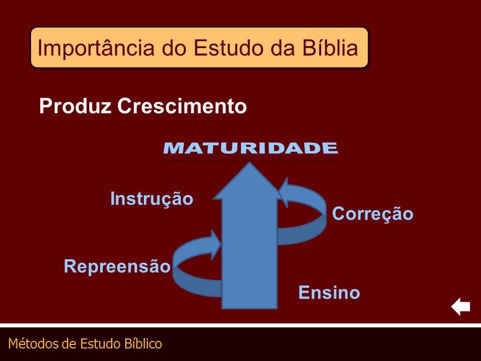 Métodos de Estudo Bíblico Importância do Estudo da Bíblia Produz Crescimento Ensino Repreensão Correção Instrução