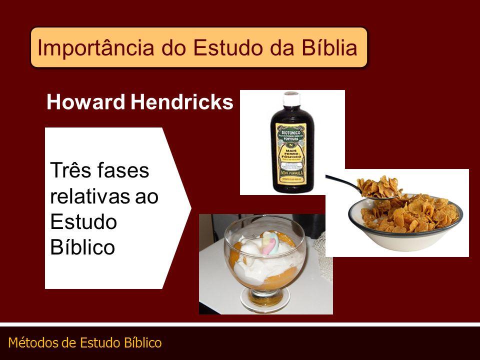 Métodos de Estudo Bíblico Três fases relativas ao Estudo Bíblico Howard Hendricks Importância do Estudo da Bíblia