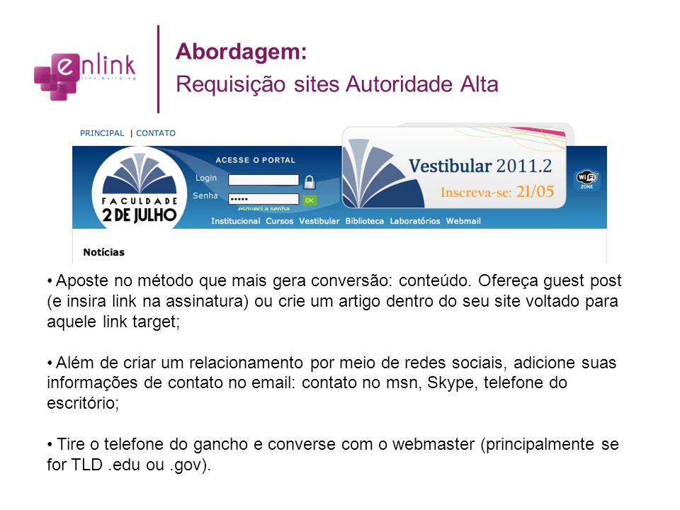 Abordagem: Requisição sites Autoridade Alta Aposte no método que mais gera conversão: conteúdo. Ofereça guest post (e insira link na assinatura) ou cr