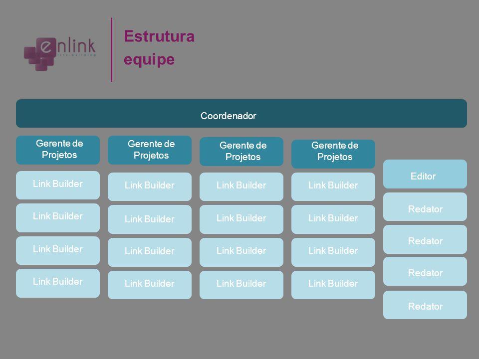 Estrutura equipe Coordenador Gerente de Projetos Editor Redator Link Builder Redator Link Builder Gerente de Projetos Gerente de Projetos Link Builder