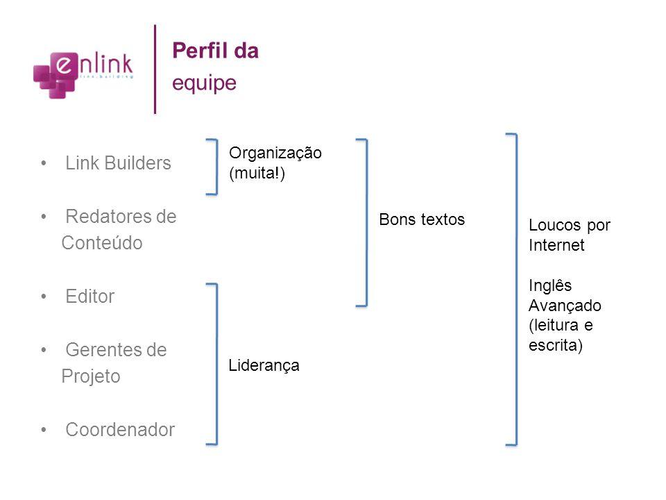 Link Builders Redatores de Conteúdo Editor Gerentes de Projeto Coordenador Perfil da equipe Organização (muita!) Liderança Bons textos Loucos por Inte