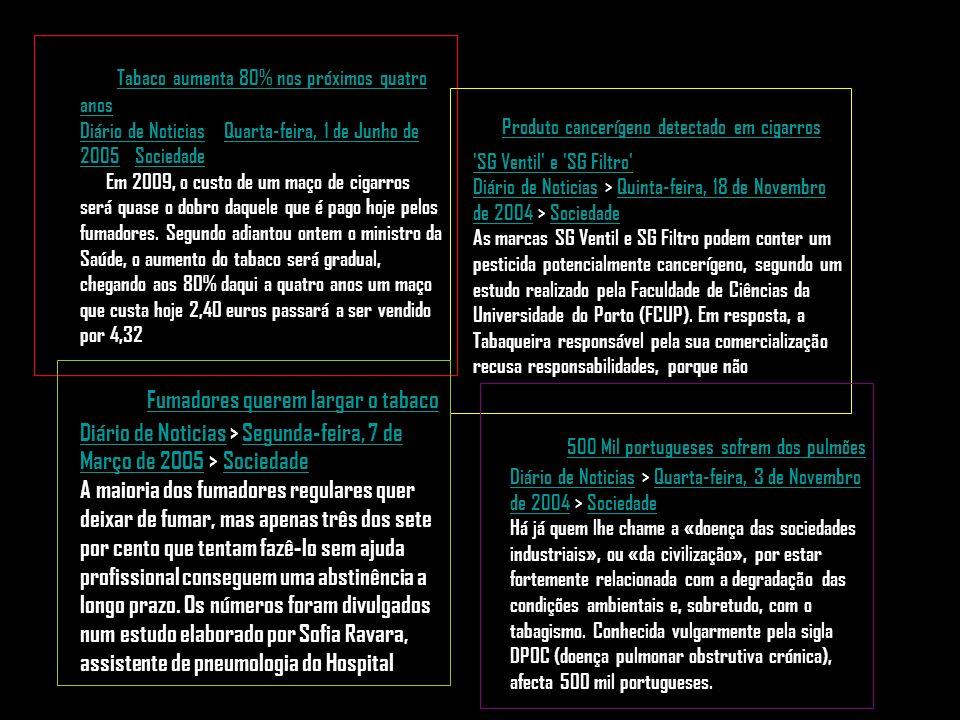 Tabaco aumenta 80% nos próximos quatro anos Diário de Noticias > Quarta-feira, 1 de Junho de 2005 > Sociedade Em 2009, o custo de um maço de cigarros