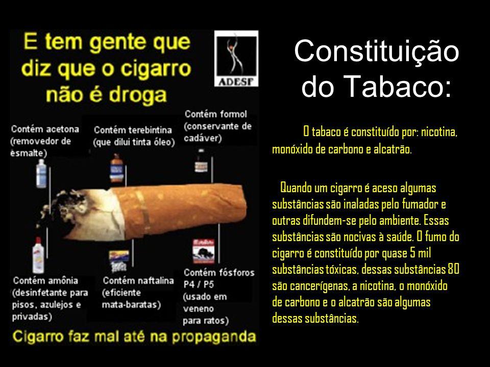 Constituição do Tabaco: O tabaco é constituído por: nicotina, monóxido de carbono e alcatrão. Quando um cigarro é aceso algumas substâncias são inalad