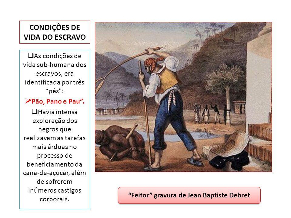 CONDIÇÕES DE VIDA DO ESCRAVO As condições de vida sub-humana dos escravos, era identificada por três pês: Pão, Pano e Pau. Havia intensa exploração do