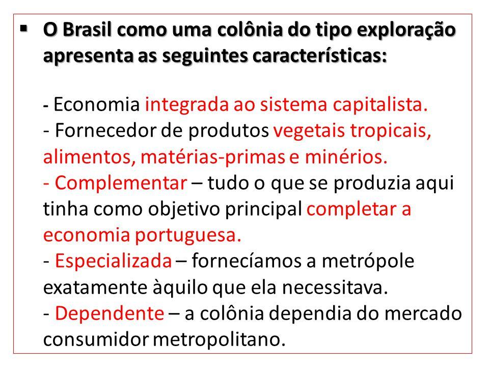 O Brasil como uma colônia do tipo exploração apresenta as seguintes características: O Brasil como uma colônia do tipo exploração apresenta as seguint