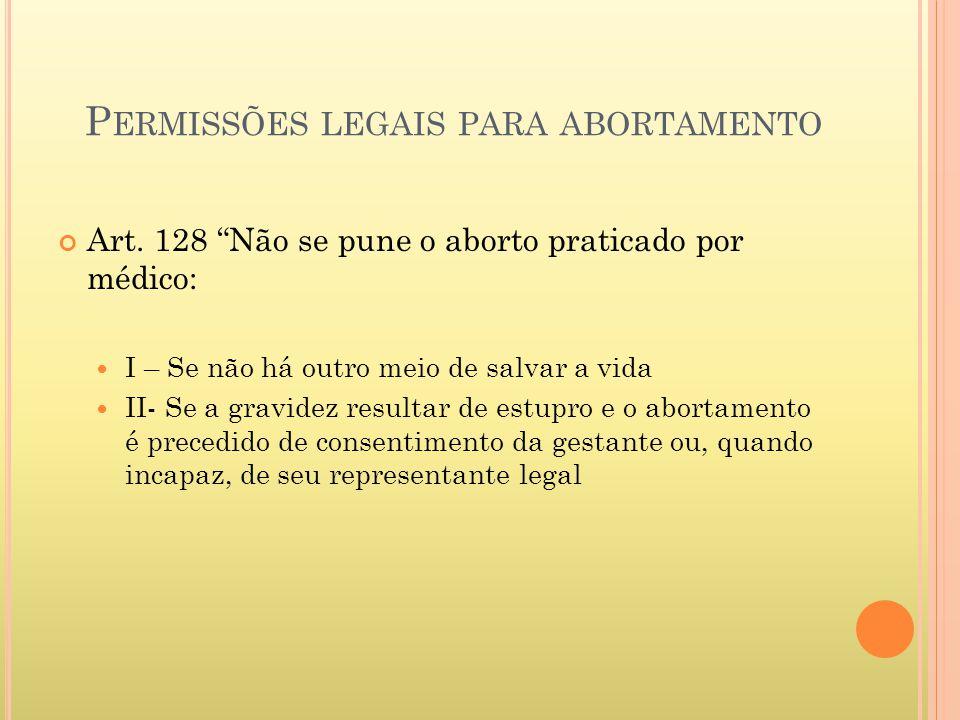 P ERMISSÕES LEGAIS PARA ABORTAMENTO Art. 128 Não se pune o aborto praticado por médico: I – Se não há outro meio de salvar a vida II- Se a gravidez re