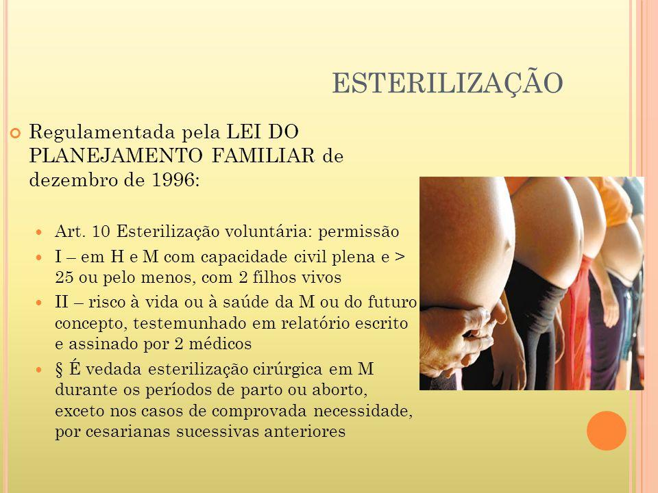 ESTERILIZAÇÃO Regulamentada pela LEI DO PLANEJAMENTO FAMILIAR de dezembro de 1996: Art. 10 Esterilização voluntária: permissão I – em H e M com capaci