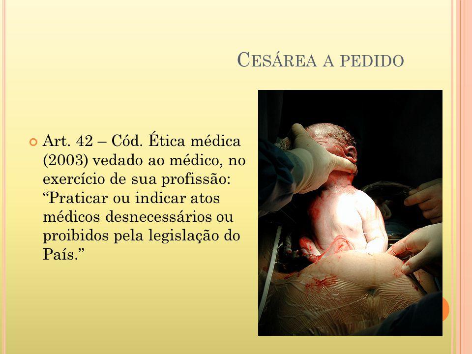 C ESÁREA A PEDIDO Art. 42 – Cód. Ética médica (2003) vedado ao médico, no exercício de sua profissão: Praticar ou indicar atos médicos desnecessários