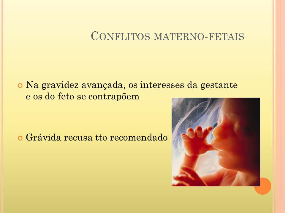 C ONFLITOS MATERNO - FETAIS Na gravidez avançada, os interesses da gestante e os do feto se contrapõem Grávida recusa tto recomendado