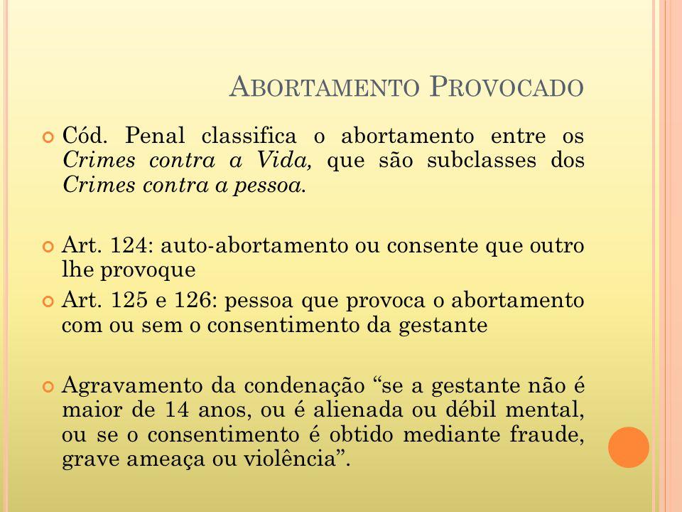 A BORTAMENTO P ROVOCADO Cód. Penal classifica o abortamento entre os Crimes contra a Vida, que são subclasses dos Crimes contra a pessoa. Art. 124: au