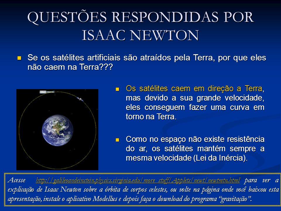 QUESTÕES RESPONDIDAS POR ISAAC NEWTON Se os satélites artificiais são atraídos pela Terra, por que eles não caem na Terra??? Se os satélites artificia