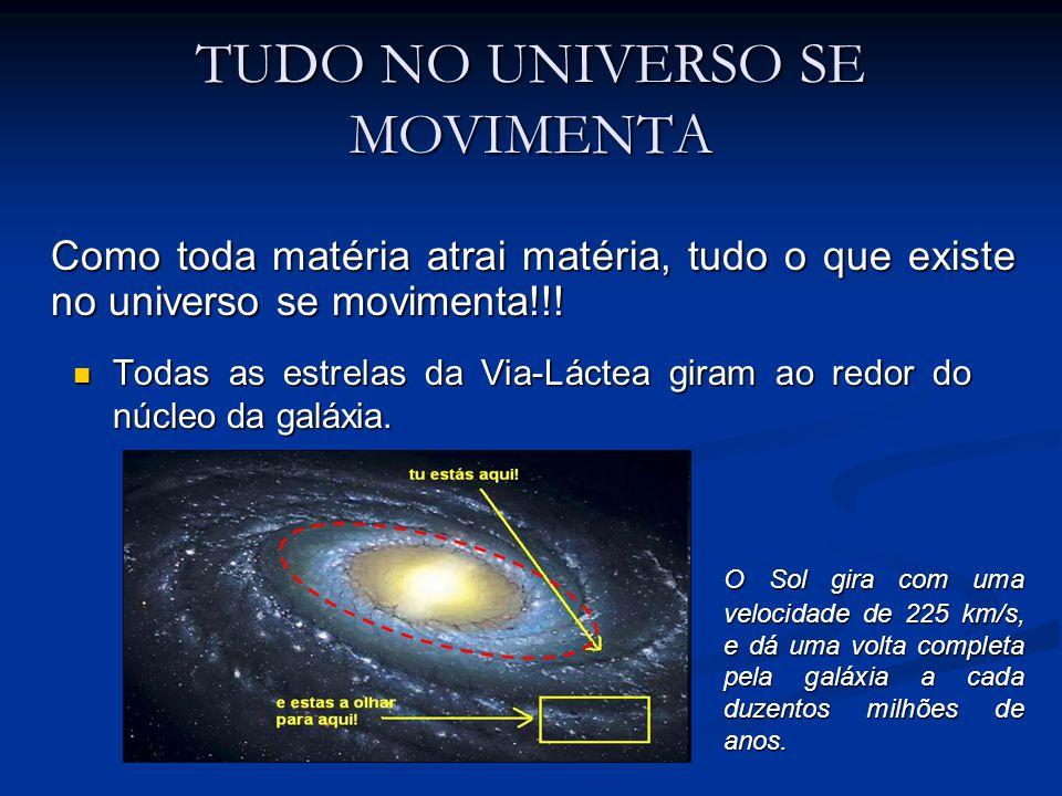 TUDO NO UNIVERSO SE MOVIMENTA Todas as estrelas da Via-Láctea giram ao redor do núcleo da galáxia. Todas as estrelas da Via-Láctea giram ao redor do n
