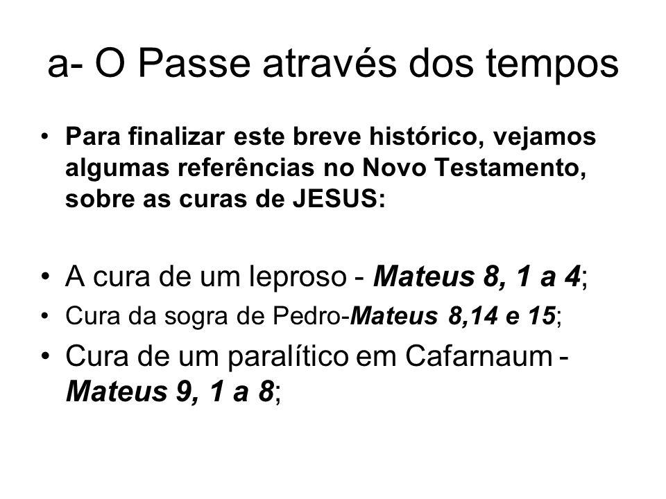 a- O Passe através dos tempos Para finalizar este breve histórico, vejamos algumas referências no Novo Testamento, sobre as curas de JESUS: A cura de