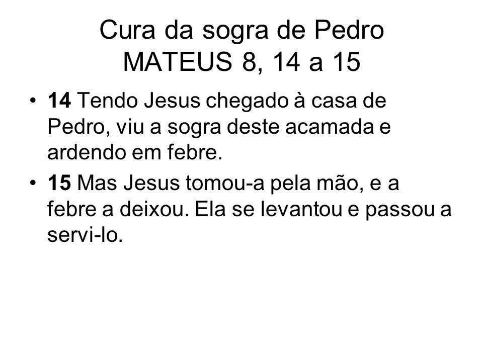 Cura da sogra de Pedro MATEUS 8, 14 a 15 14 Tendo Jesus chegado à casa de Pedro, viu a sogra deste acamada e ardendo em febre. 15 Mas Jesus tomou-a pe