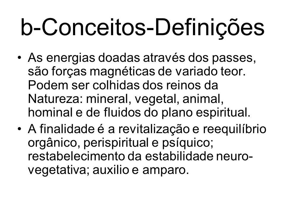 b-Conceitos-Definições As energias doadas através dos passes, são forças magnéticas de variado teor. Podem ser colhidas dos reinos da Natureza: minera