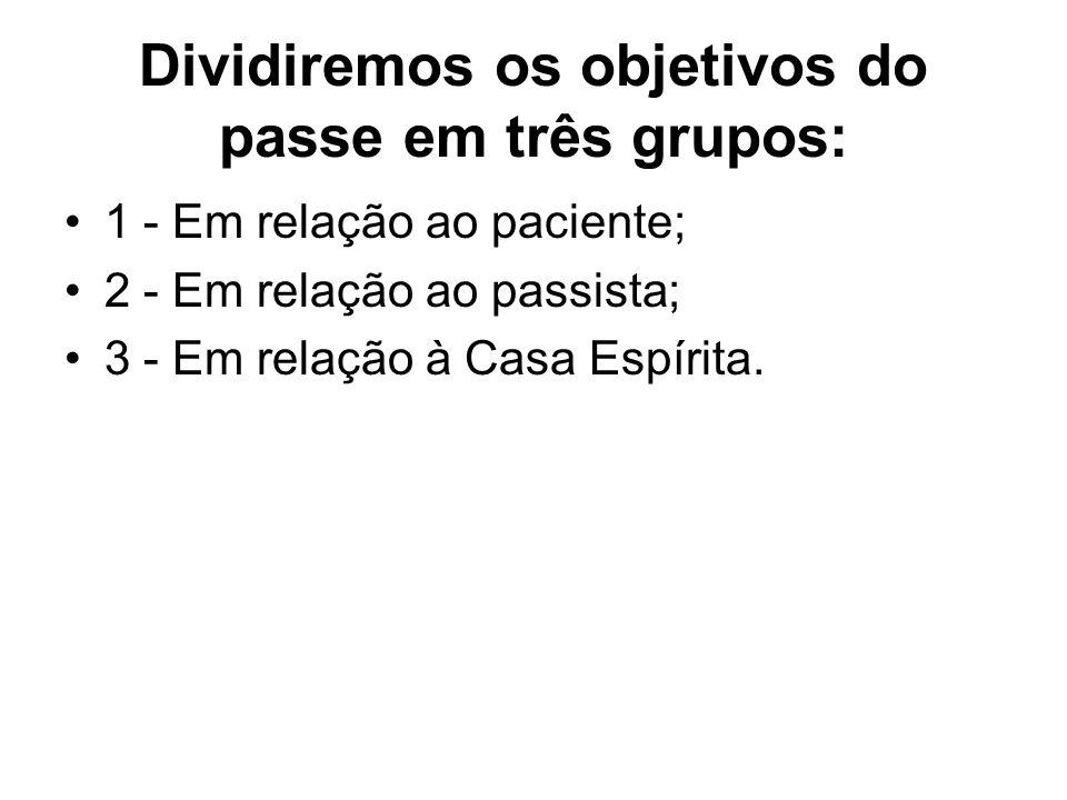 Dividiremos os objetivos do passe em três grupos: 1 - Em relação ao paciente; 2 - Em relação ao passista; 3 - Em relação à Casa Espírita.