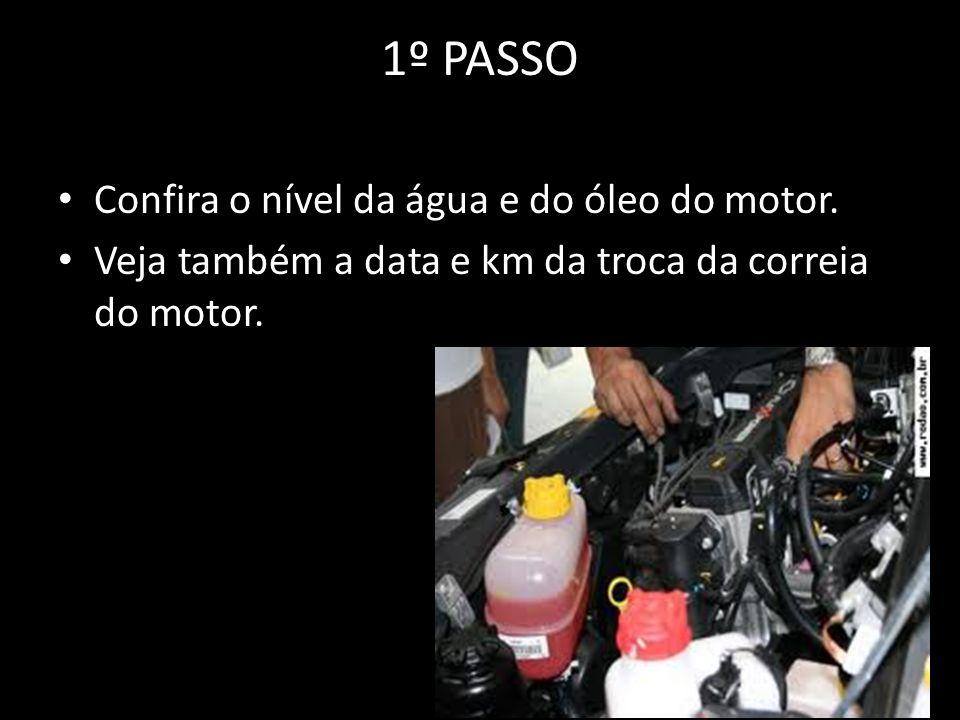 1º PASSO Confira o nível da água e do óleo do motor.