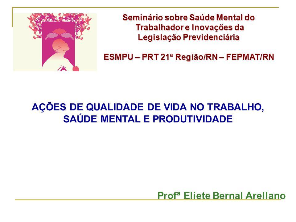Profª Eliete Bernal Arellano Seminário sobre Saúde Mental do Trabalhador e Inovações da Trabalhador e Inovações da Legislação Previdenciária ESMPU – P