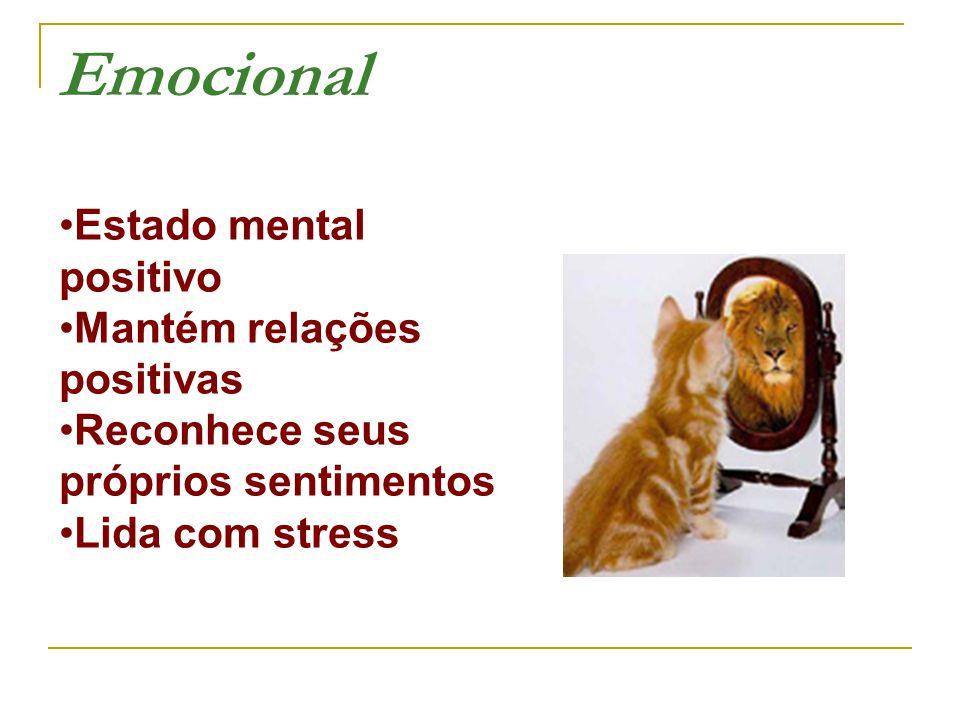 Estado mental positivo Mantém relações positivas Reconhece seus próprios sentimentos Lida com stress Emocional