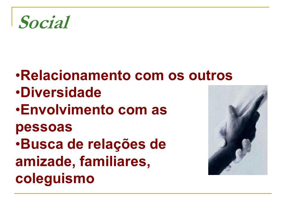 Relacionamento com os outros Diversidade Envolvimento com as pessoas Busca de relações de amizade, familiares, coleguismo Social