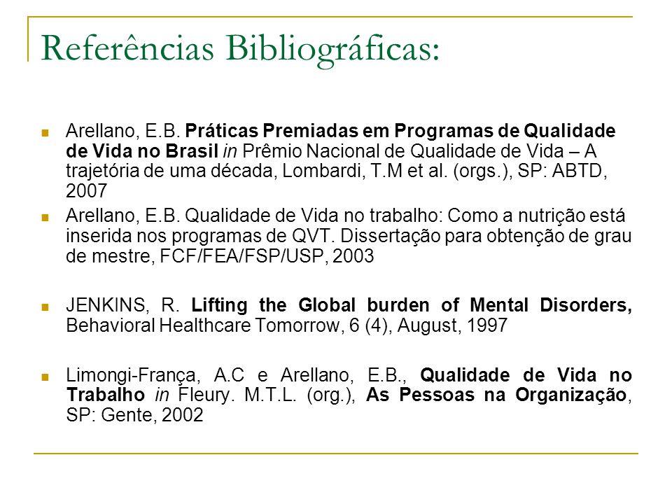 Referências Bibliográficas: Arellano, E.B. Práticas Premiadas em Programas de Qualidade de Vida no Brasil in Prêmio Nacional de Qualidade de Vida – A