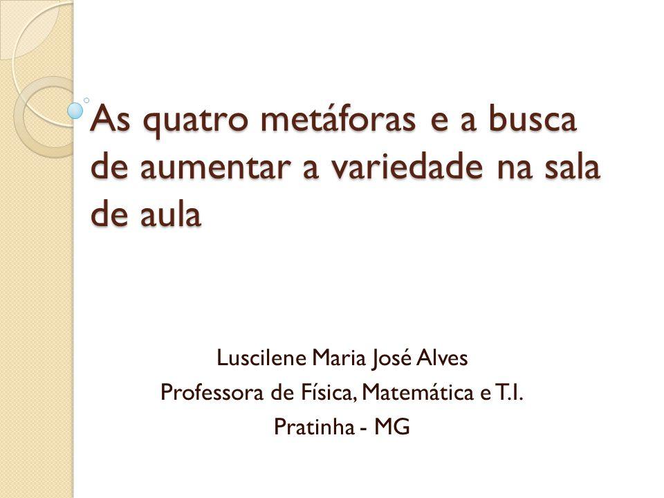 As quatro metáforas e a busca de aumentar a variedade na sala de aula Luscilene Maria José Alves Professora de Física, Matemática e T.I. Pratinha - MG
