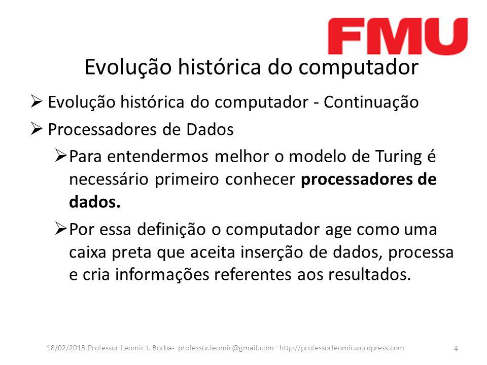 Evolução histórica do computador Evolução histórica do computador - Continuação Processadores de Dados Para entendermos melhor o modelo de Turing é necessário primeiro conhecer processadores de dados.