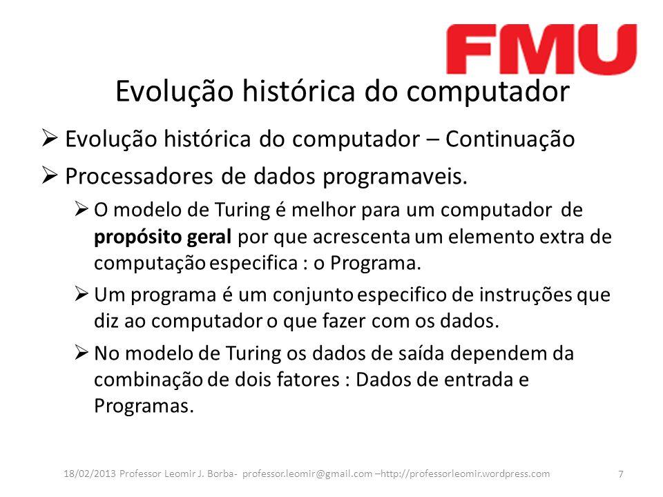 Evolução histórica do computador Evolução histórica do computador – Continuação Processadores de dados programaveis.