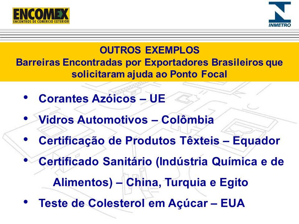 Corantes Azóicos – UE Vidros Automotivos – Colômbia Certificação de Produtos Têxteis – Equador Certificado Sanitário (Indústria Química e de Alimentos