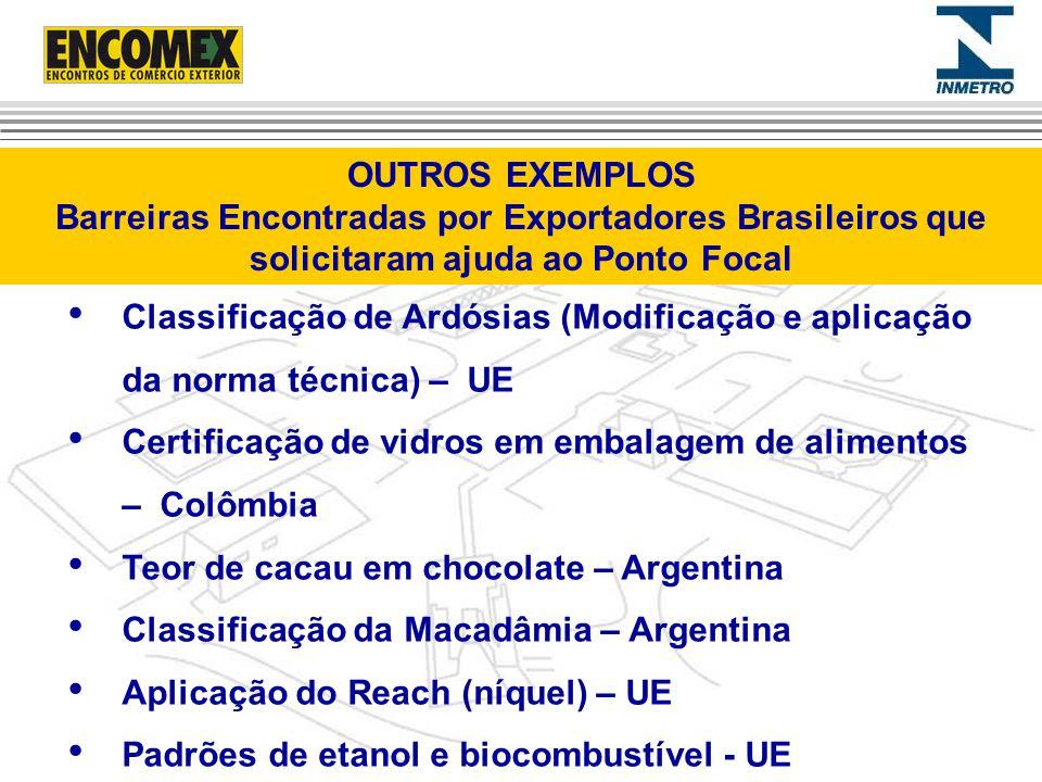 Classificação de Ardósias (Modificação e aplicação da norma técnica) – UE Certificação de vidros em embalagem de alimentos – Colômbia Teor de cacau em