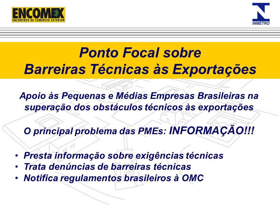 Apoio às Pequenas e Médias Empresas Brasileiras na superação dos obstáculos técnicos às exportações O principal problema das PMEs: INFORMAÇÃO!!! Prest