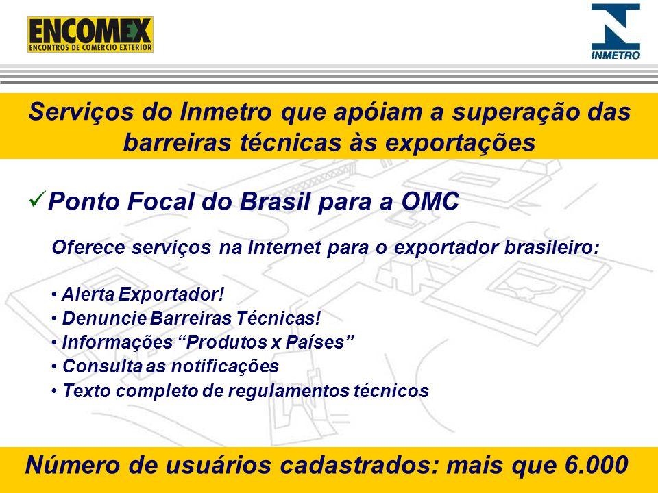 Serviços do Inmetro que apóiam a superação das barreiras técnicas às exportações Oferece serviços na Internet para o exportador brasileiro: Alerta Exp