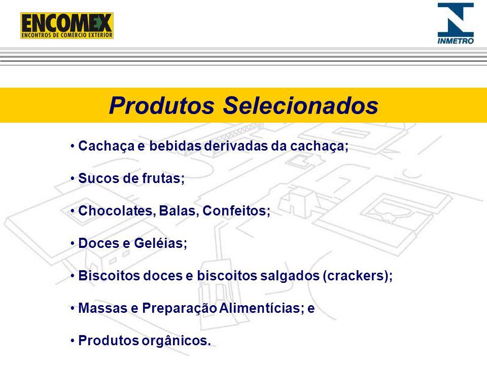 Produtos Selecionados Cachaça e bebidas derivadas da cachaça; Sucos de frutas; Chocolates, Balas, Confeitos; Doces e Geléias; Biscoitos doces e biscoi