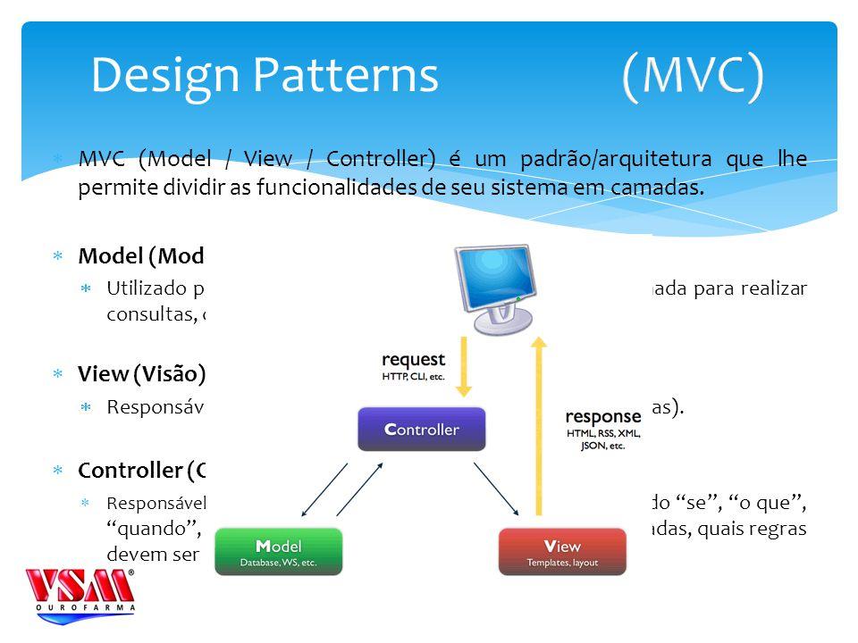 MVC (Model / View / Controller) é um padrão/arquitetura que lhe permite dividir as funcionalidades de seu sistema em camadas. Model (Modelo) Utilizado